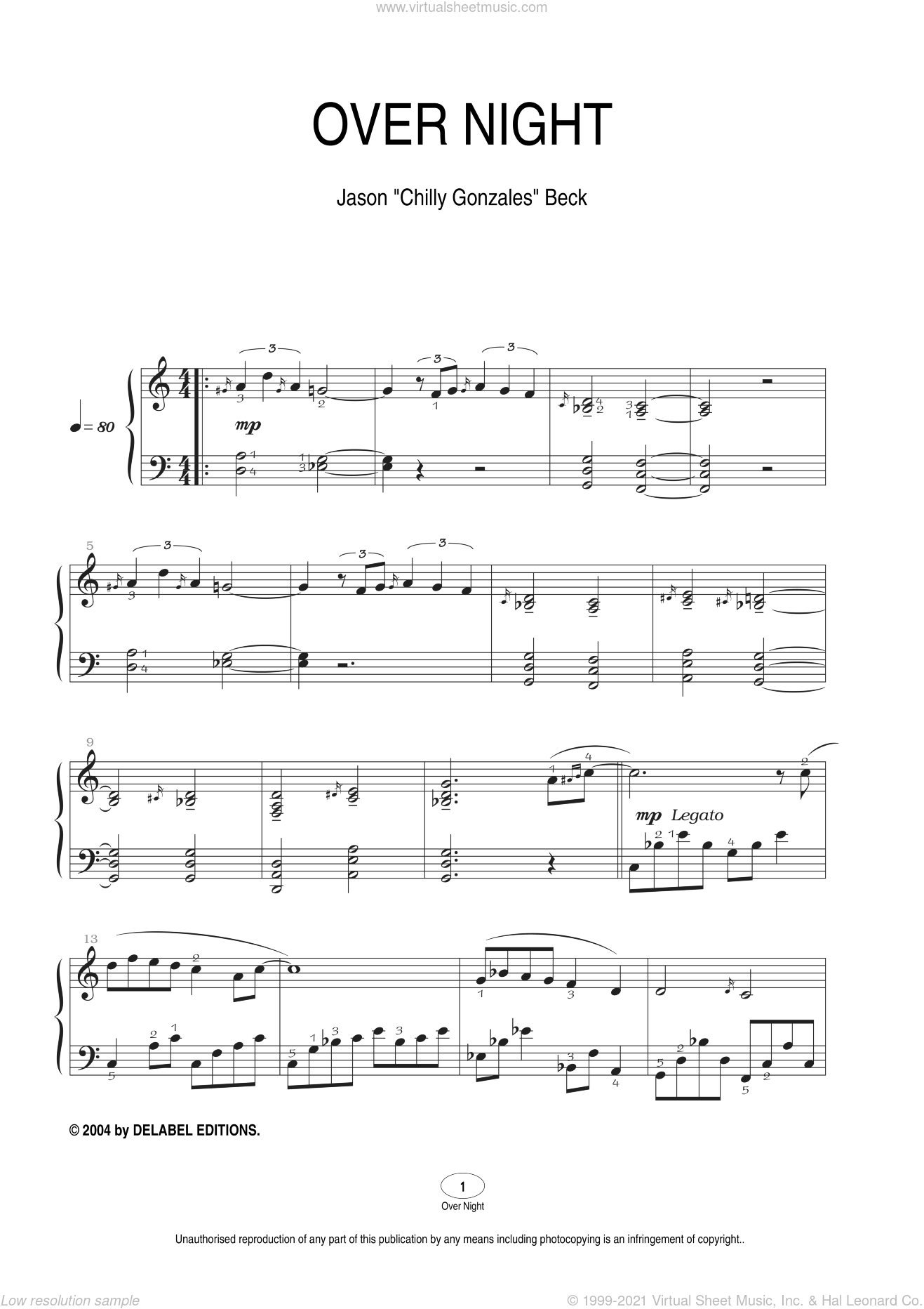 Over Night sheet music for piano solo by Chilly Gonzales and Jason Beck, intermediate