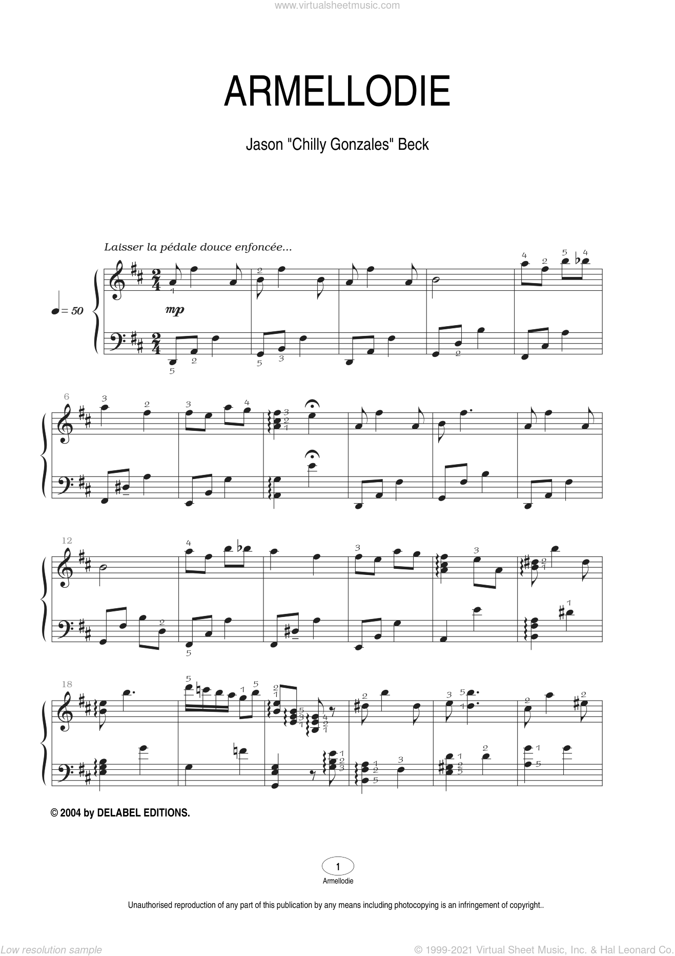 Armellodie sheet music for piano solo by Chilly Gonzales and Jason Beck, intermediate. Score Image Preview.