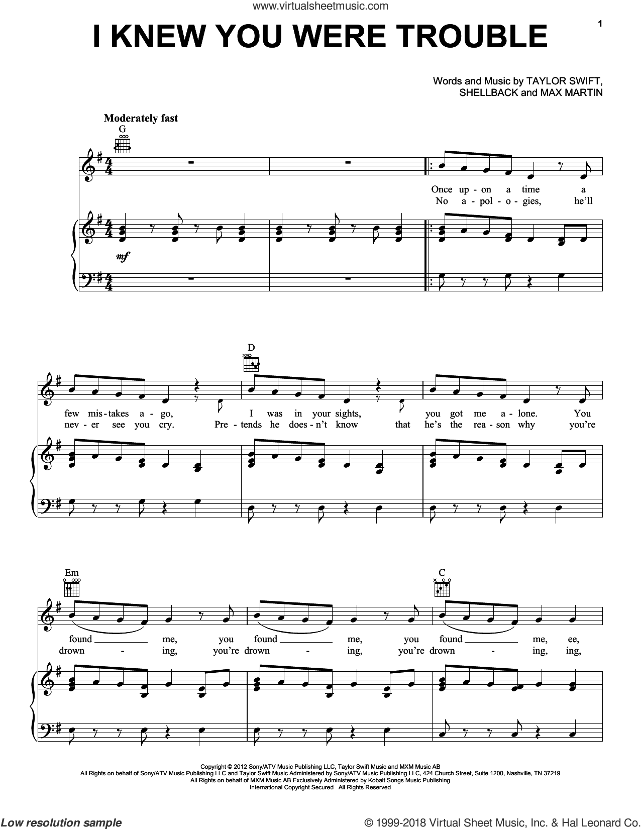 I Knew You Were Trouble sheet music for voice, piano or guitar by Shellback