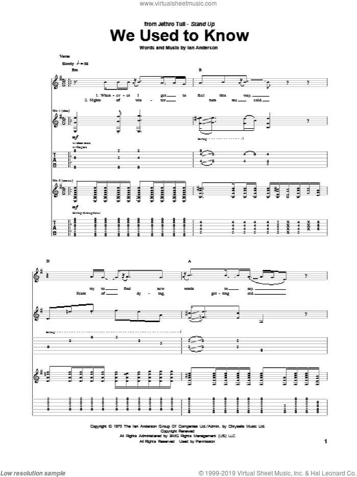 We Used To Know sheet music for guitar (tablature) by Jethro Tull. Score Image Preview.