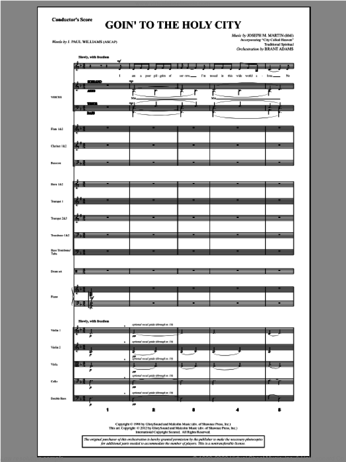 Goin To The Holy City (complete set of parts) sheet music for orchestra/band by Joseph M. Martin and J. Paul Williams, intermediate skill level