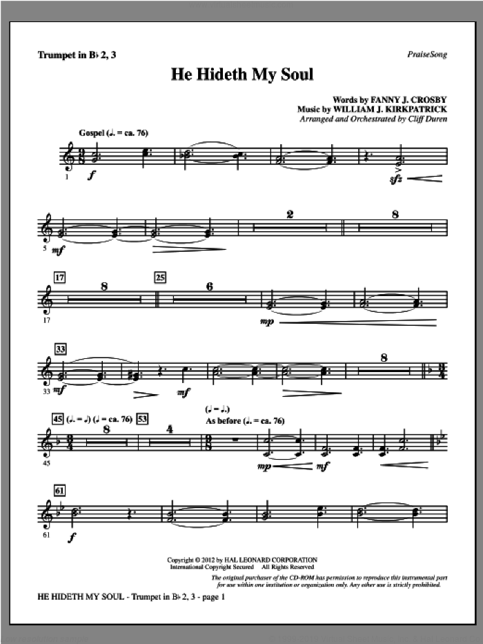 He Hideth My Soul sheet music for orchestra/band (Bb trumpet 2,3) by Fanny J. Crosby