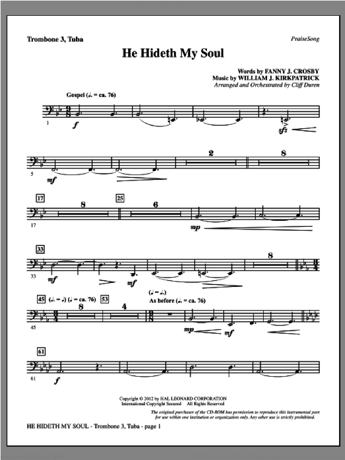 He Hideth My Soul sheet music for orchestra/band (trombone 3/tuba) by Fanny J. Crosby