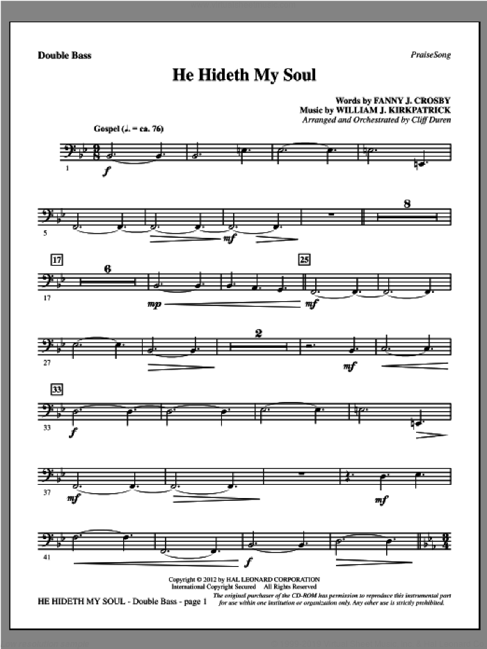 He Hideth My Soul sheet music for orchestra/band (double bass) by Fanny J. Crosby