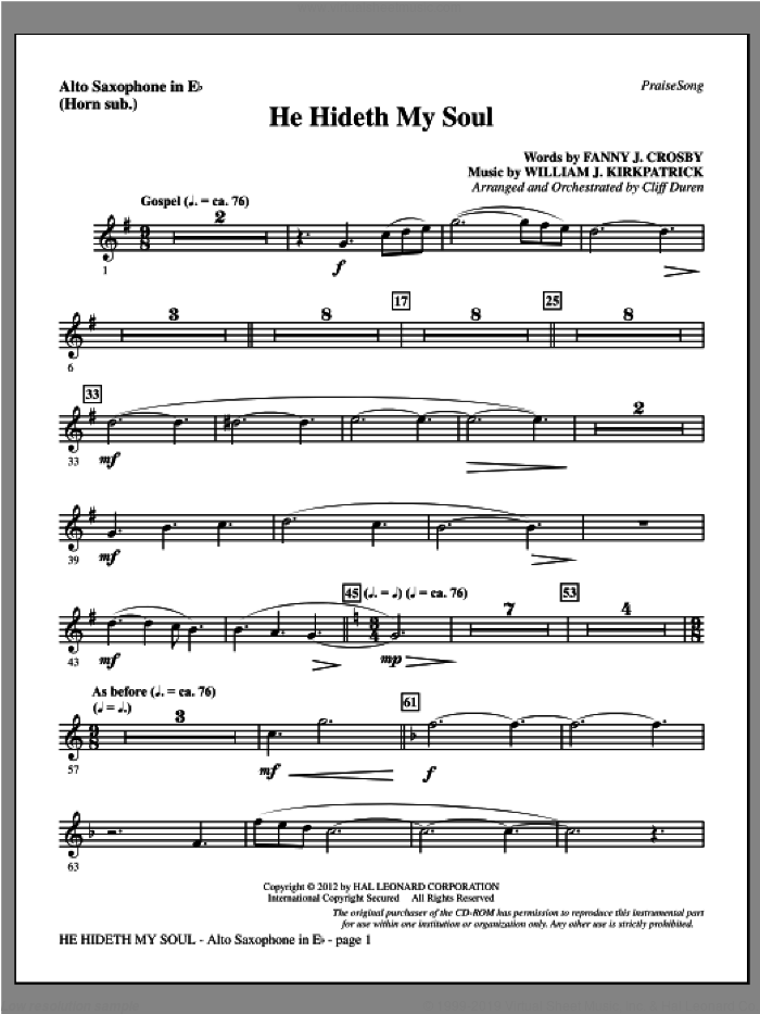 He Hideth My Soul sheet music for orchestra/band (alto sax, sub. horn) by Fanny J. Crosby