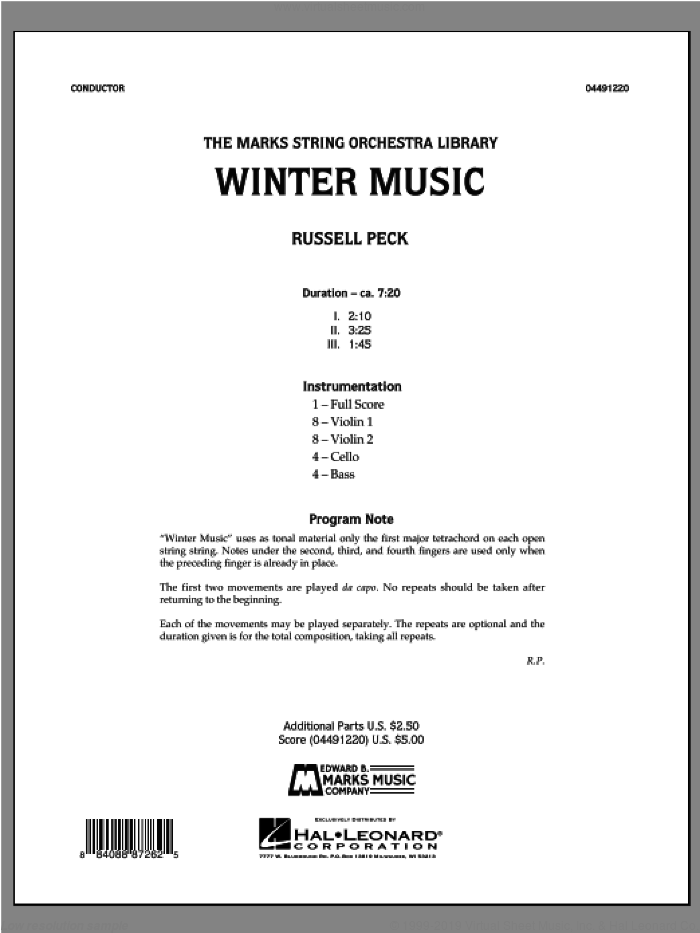 Winter Music (COMPLETE) sheet music for orchestra by Russell Peck, intermediate skill level