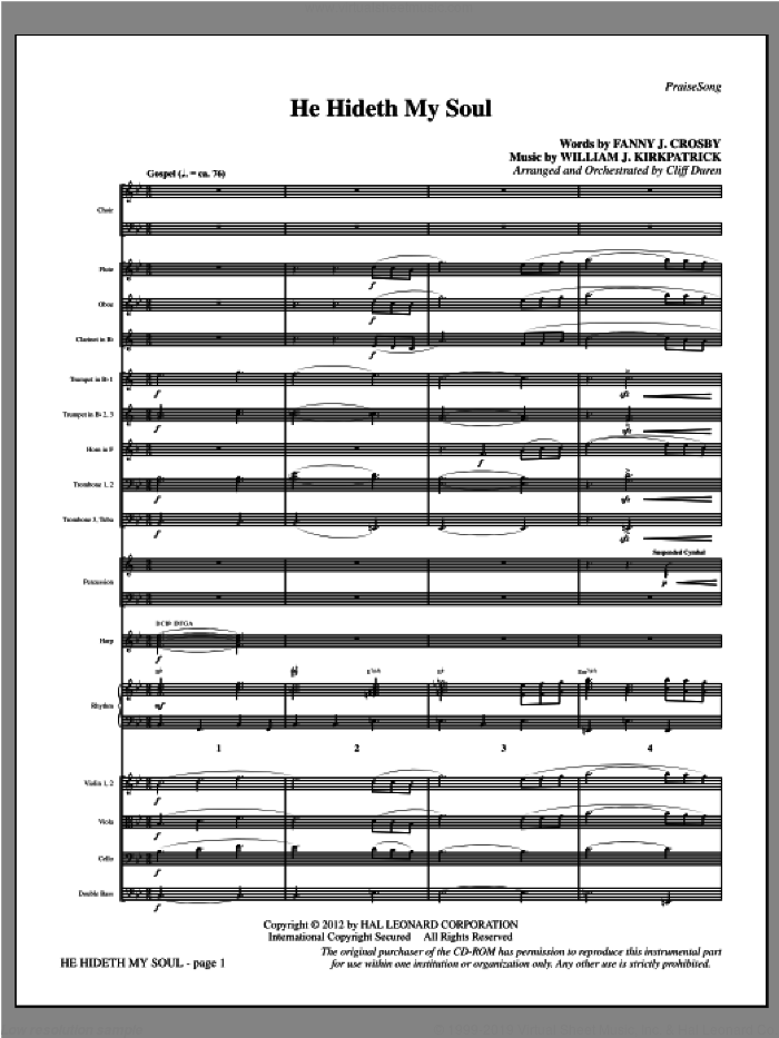 He Hideth My Soul (complete set of parts) sheet music for orchestra/band by Fanny J. Crosby, Cliff Duren and William J. Kirkpatrick, intermediate skill level