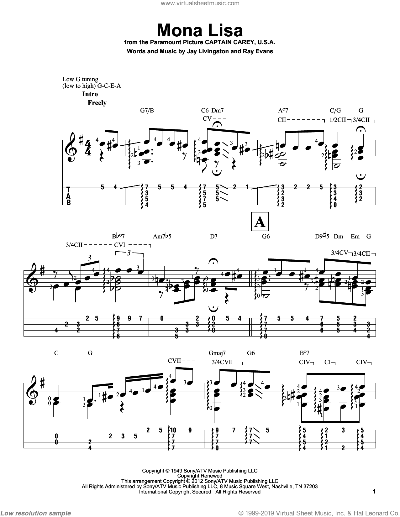 Mona Lisa sheet music for ukulele by Ray Evans