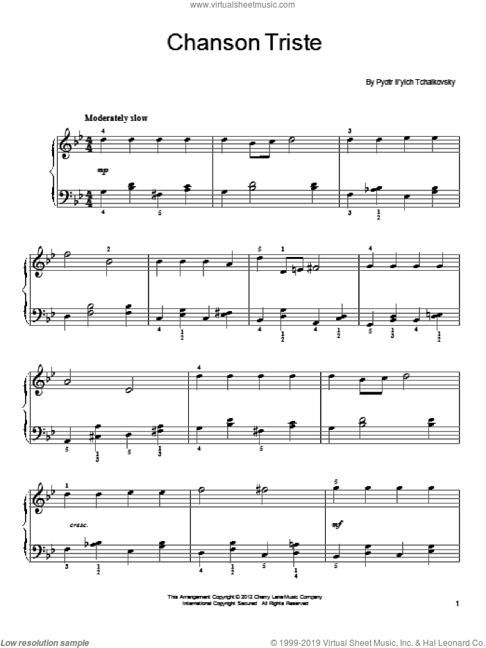 Chanson Triste sheet music for piano solo by Pyotr Ilyich Tchaikovsky, classical score, easy