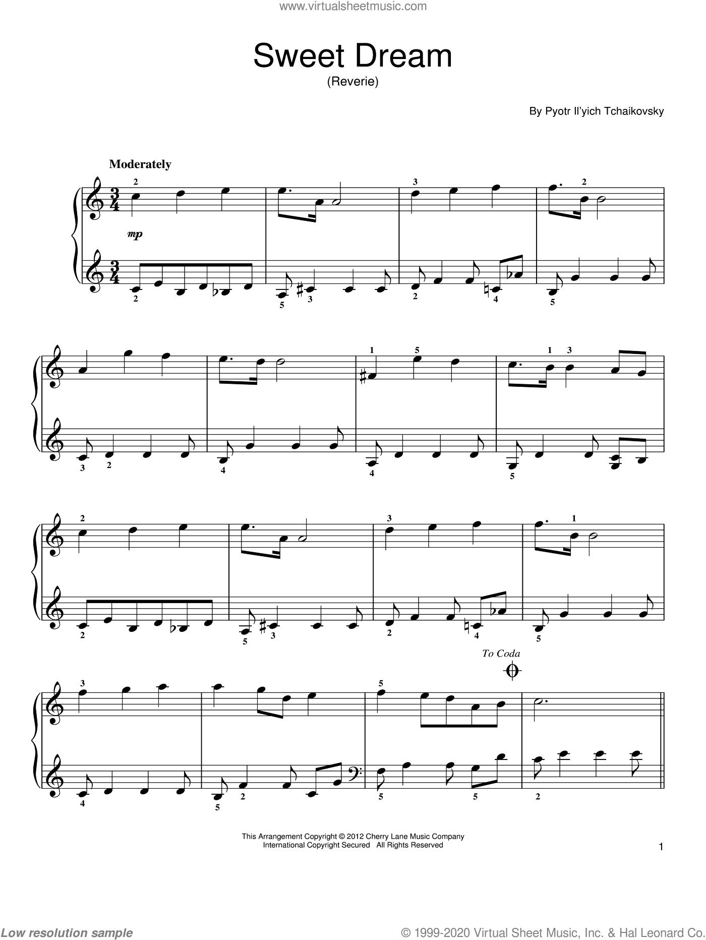 Sweet Dream (Douce Reverie), Op. 39, No. 21 sheet music for piano solo by Pyotr Ilyich Tchaikovsky. Score Image Preview.