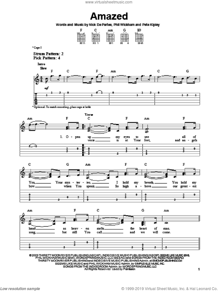 Amazed sheet music for guitar solo (easy tablature) by Kutless, easy guitar (easy tablature)
