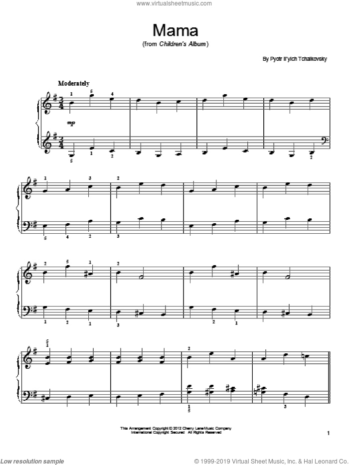 Mama sheet music for piano solo by Pyotr Ilyich Tchaikovsky. Score Image Preview.