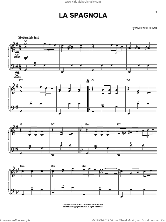 La Spagnola sheet music for accordion by Vincenzo Chiari, intermediate accordion. Score Image Preview.