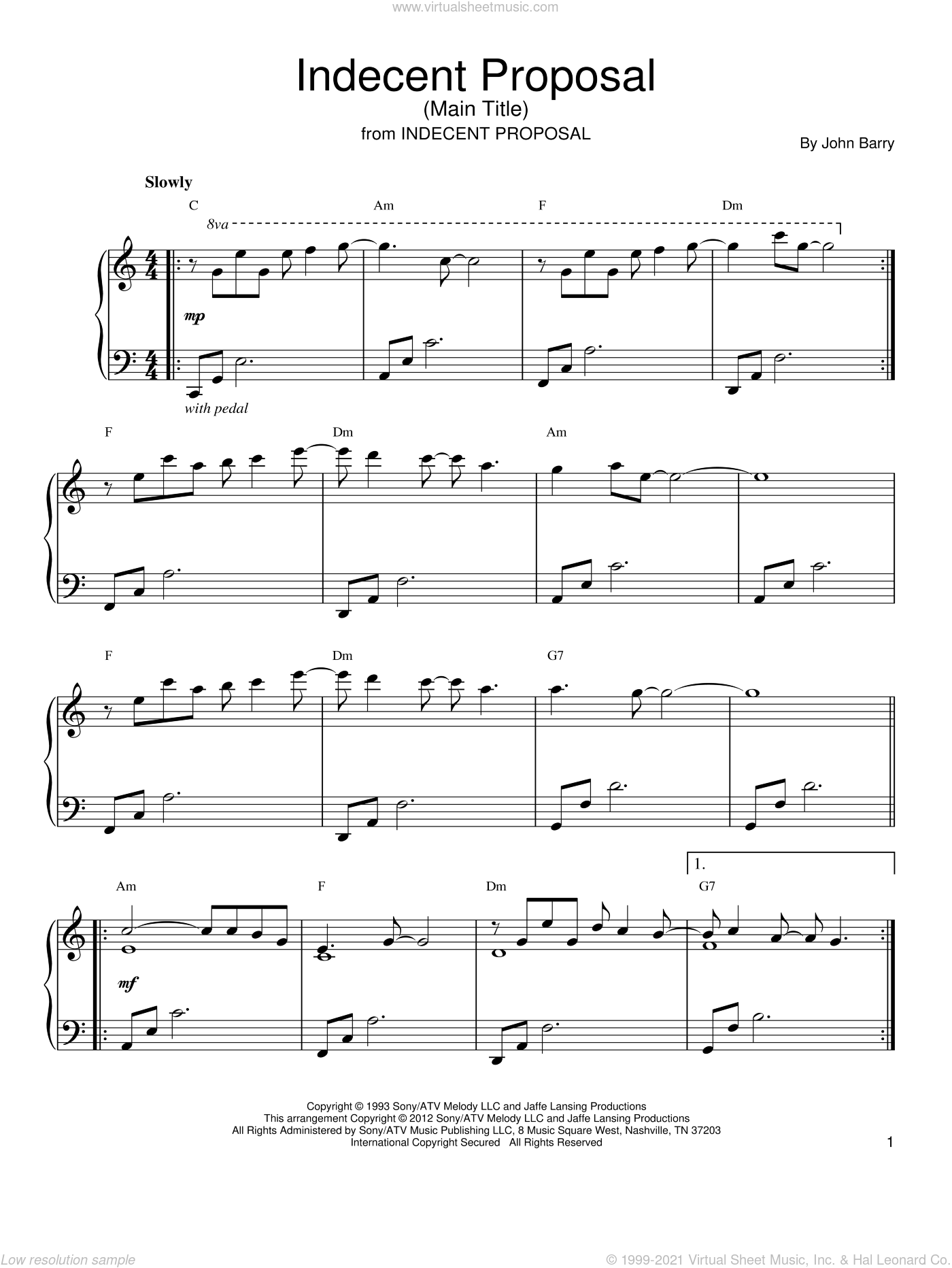 Indecent Proposal (Main Theme) sheet music for piano solo by John Barry, intermediate skill level