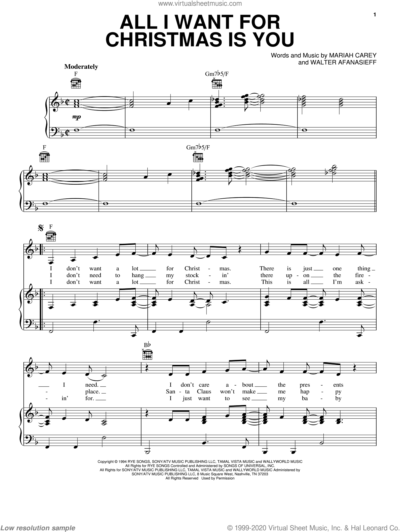 All I Want For Christmas Is You sheet music for voice, piano or guitar by Lady Antebellum. Score Image Preview.