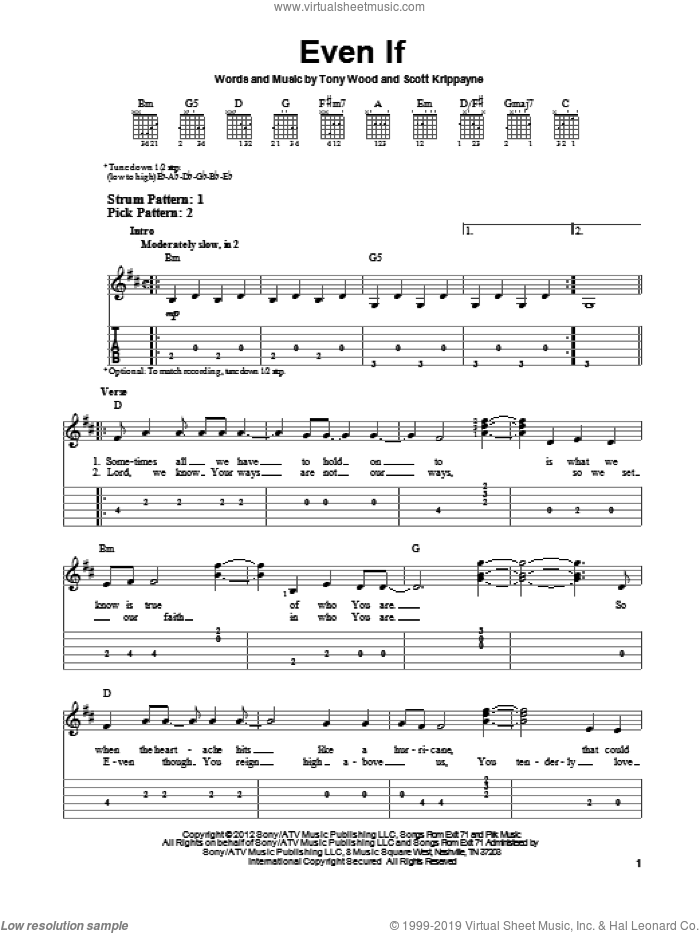 Even If sheet music for guitar solo (easy tablature) by Kutless