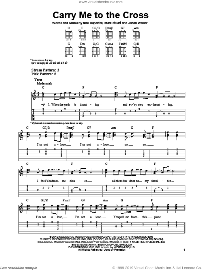 Carry Me To The Cross sheet music for guitar solo (easy tablature) by Kutless. Score Image Preview.