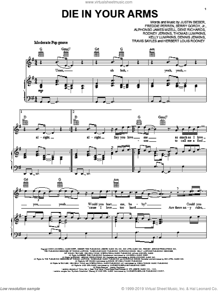 Die In Your Arms sheet music for voice, piano or guitar by Justin Bieber. Score Image Preview.
