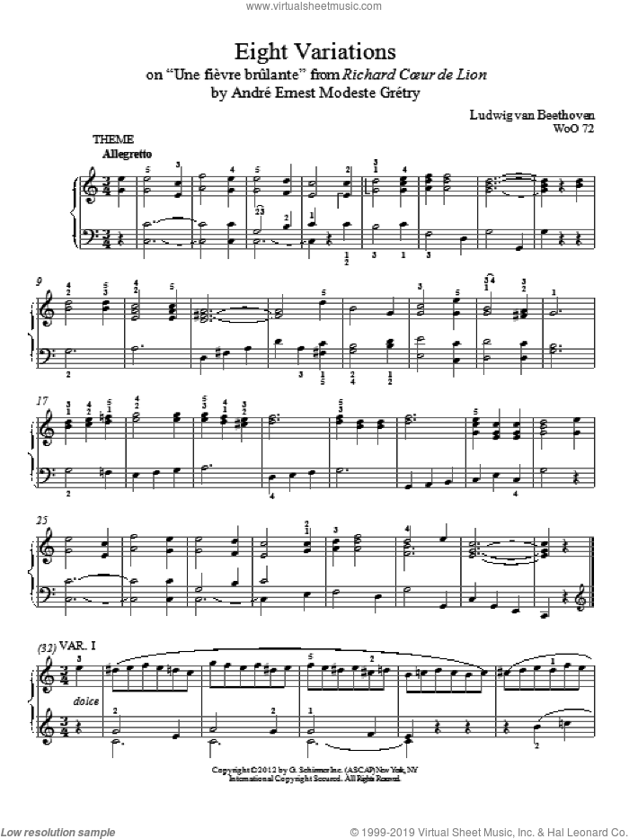 Eight Variations On 'Une Fievre Brulante' sheet music for piano solo by Ludwig van Beethoven and Immanuela Gruenberg, intermediate skill level