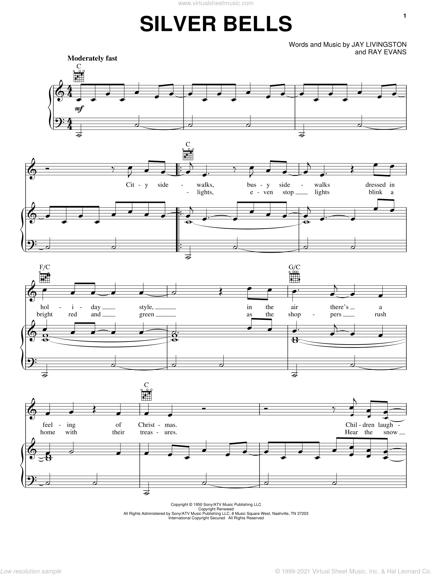 Silver Bells sheet music for voice, piano or guitar by Lady A and Lady Antebellum, intermediate skill level