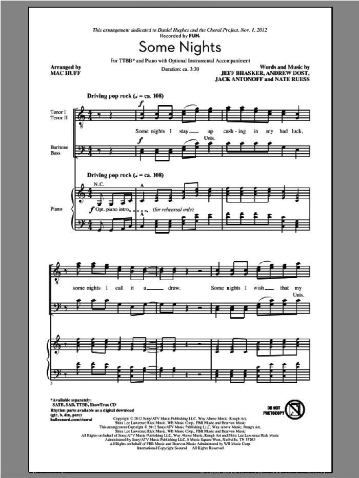 Some Nights sheet music for choir (tenor voice, bass voice, choir) by Mac Huff and fun.. Score Image Preview.