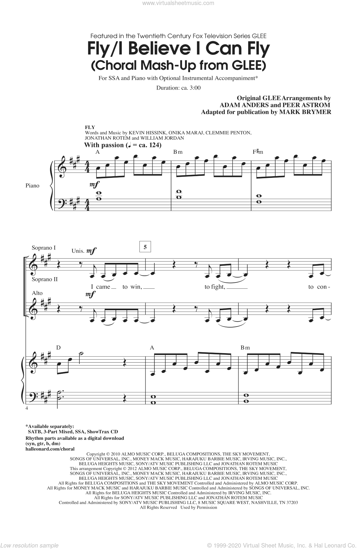 I Believe I Can Fly sheet music for choir (SSA: soprano, alto) by Mark Brymer and Glee Cast, intermediate skill level