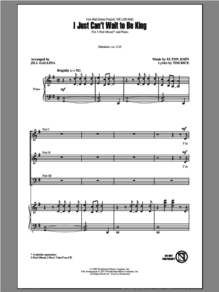 I Just Can't Wait To Be King sheet music for choir and piano (chamber ensemble) by J. Gallina, Elton John and Tim Rice. Score Image Preview.