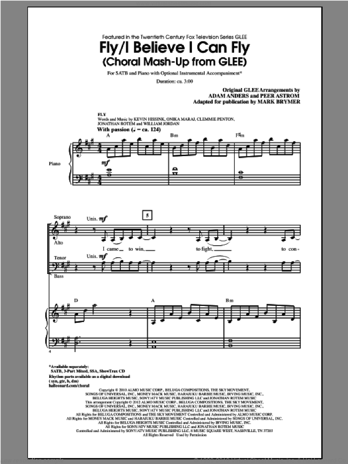 I Believe I Can Fly sheet music for choir (SATB) by Mark Brymer and Glee Cast, intermediate choir (SATB). Score Image Preview.