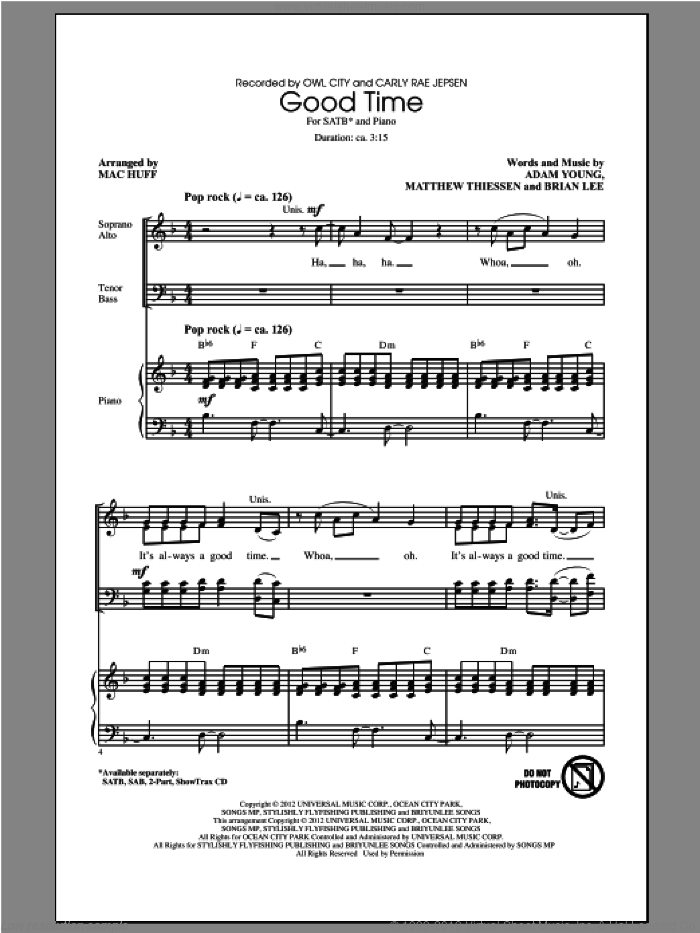 Good Time sheet music for choir (SATB) by Mac Huff and Owl City. Score Image Preview.