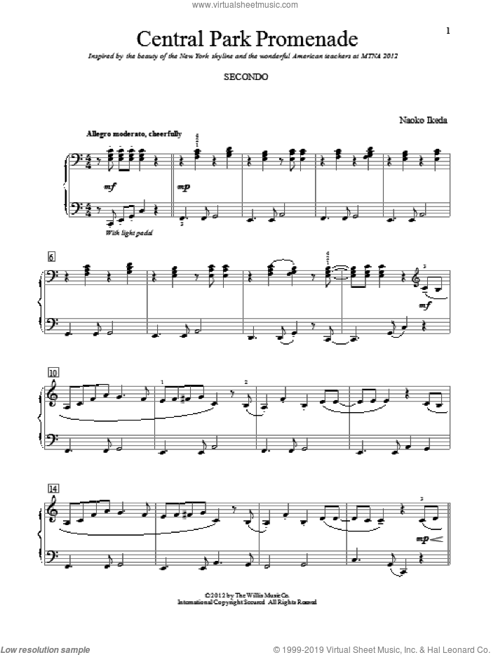 Central Park Promenade sheet music for piano four hands by Naoko Ikeda, intermediate skill level