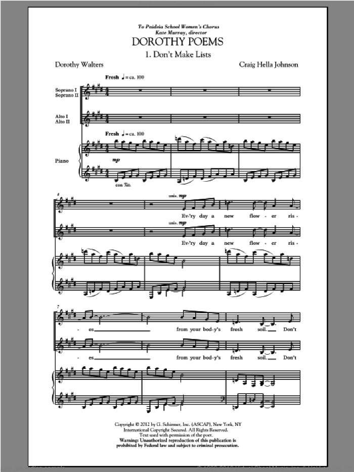Don't Make Lists sheet music for choir (SSA: soprano, alto) by Craig Hella Johnson and Dorothy Walters, intermediate skill level