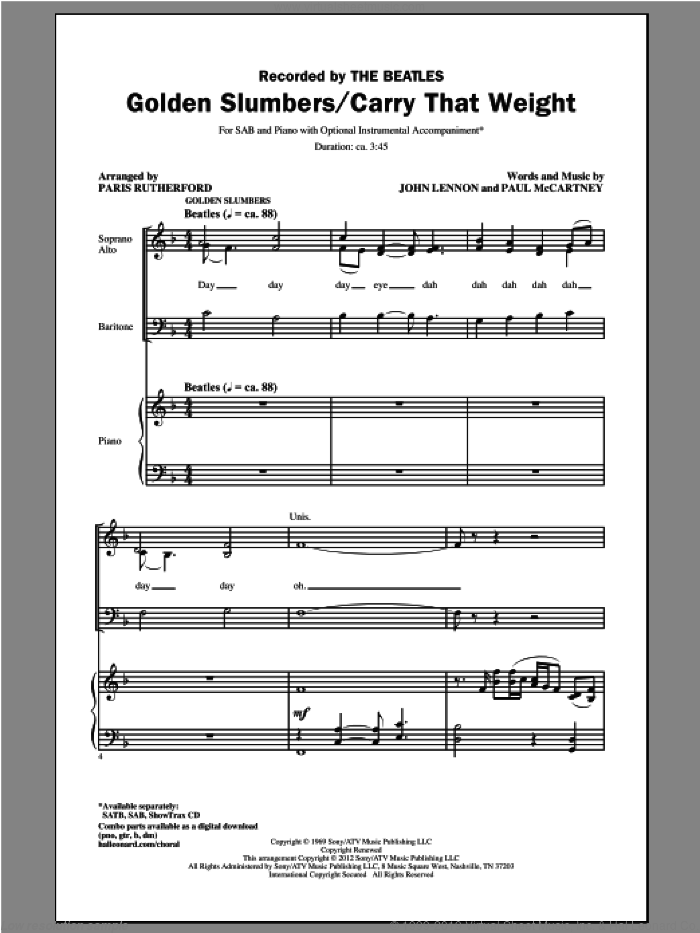 Golden Slumbers/Carry That Weight sheet music for choir (SAB: soprano, alto, bass) by The Beatles and Paris Rutherford, intermediate skill level