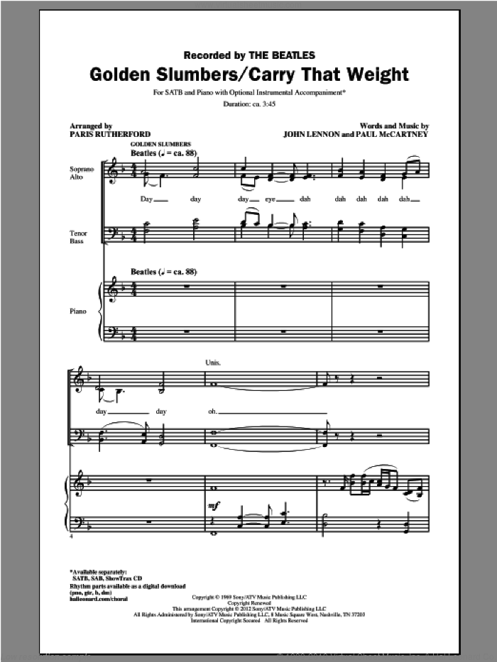 Golden Slumbers sheet music for choir (SATB: soprano, alto, tenor, bass) by The Beatles, John Lennon, Paris Rutherford and Paul McCartney, intermediate skill level