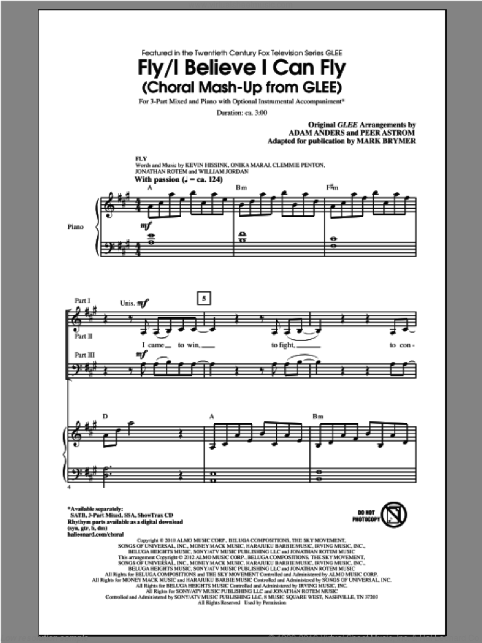 I Believe I Can Fly sheet music for choir and piano (chamber ensemble) by Mark Brymer and Glee Cast. Score Image Preview.