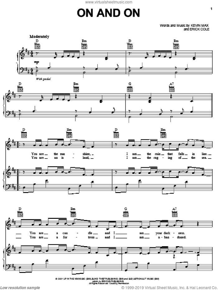 On And On sheet music for voice, piano or guitar by Kevin Max and Erick Cole, intermediate skill level
