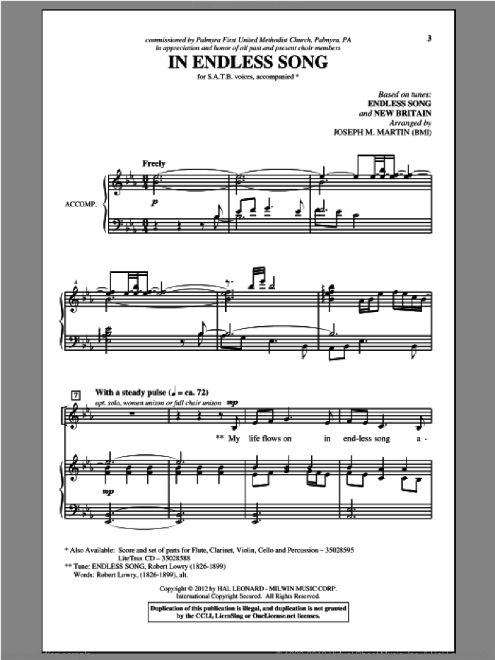 In Endless Song sheet music for choir and piano (SATB) by Joseph M. Martin