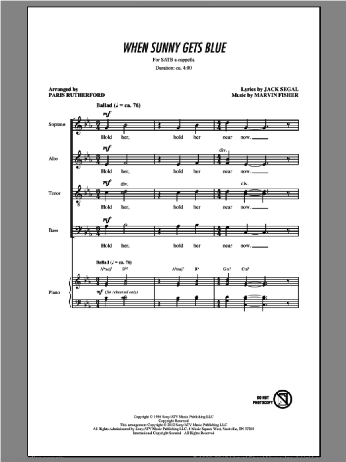 When Sunny Gets Blue sheet music for choir and piano (SATB) by Paris Rutherford