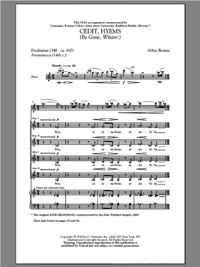 Cedit, Hyems (Be Gone, Winter!) sheet music for choir and piano (SSA) by Abbie Betinis