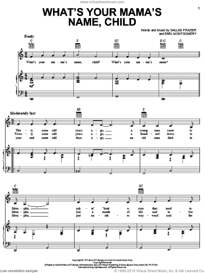 What's Your Mama's Name Child sheet music for voice, piano or guitar by Earl Montgomery