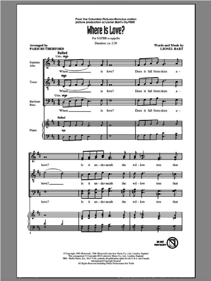 Where Is Love? sheet music for choir (SATB: soprano, alto, tenor, bass) by Paris Rutherford, intermediate. Score Image Preview.