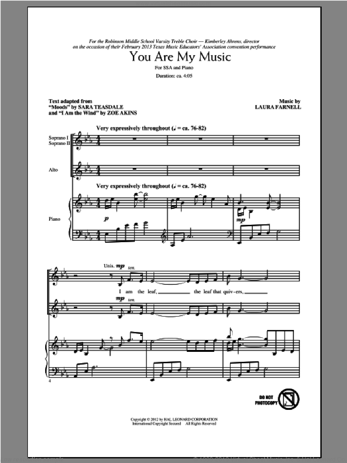 You Are My Music sheet music for choir (soprano voice, alto voice, choir) by Laura Farnell. Score Image Preview.