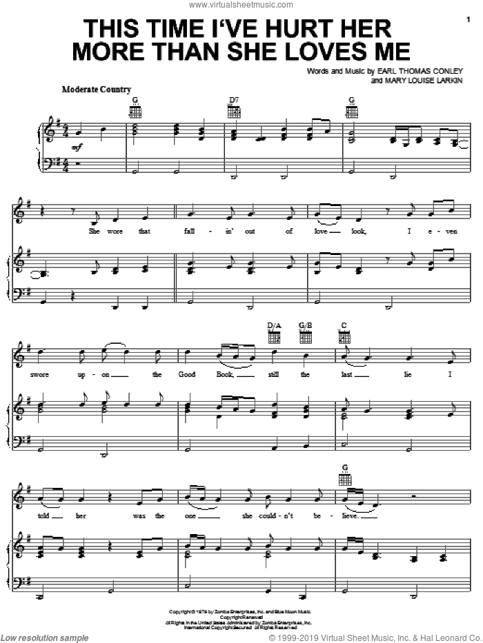 This Time I've Hurt Her More Than She Loves Me sheet music for voice, piano or guitar by Mary Louise Larkin and Conway Twitty. Score Image Preview.
