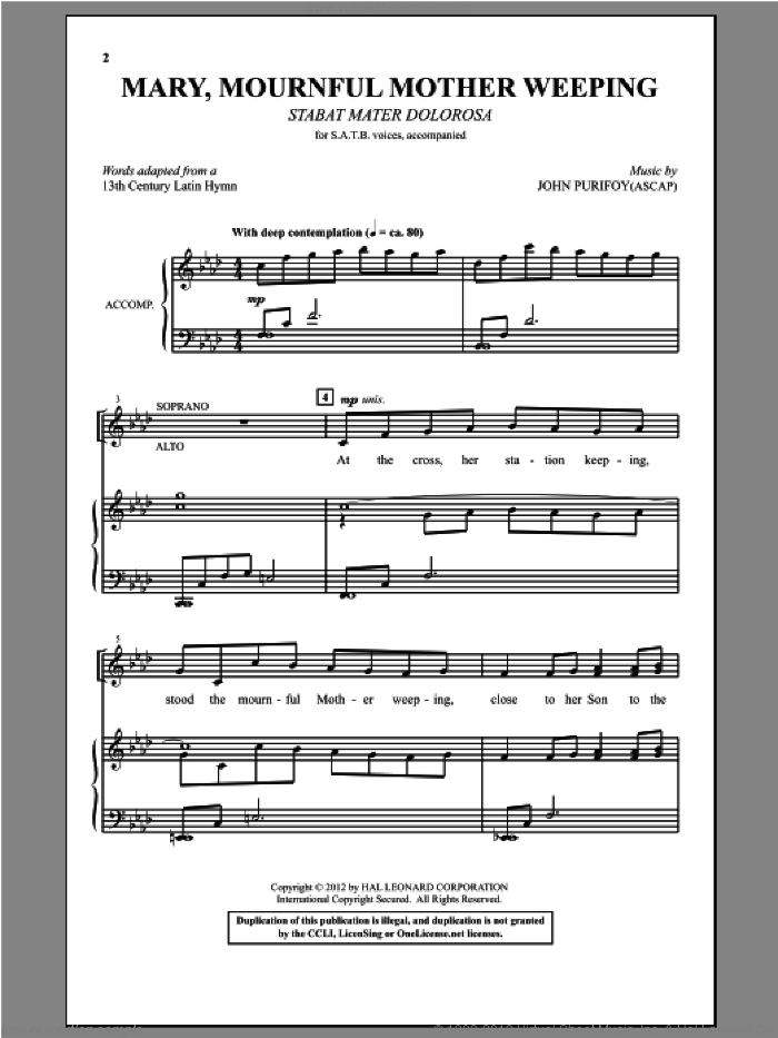 Mary, Mournful Mother Weeping sheet music for choir (SATB: soprano, alto, tenor, bass) by John Purifoy, intermediate skill level