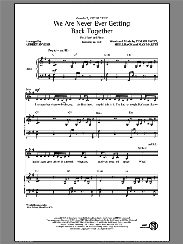 We Are Never Ever Getting Back Together sheet music for choir (2-Part) by Taylor Swift and Audrey Snyder, intermediate duet