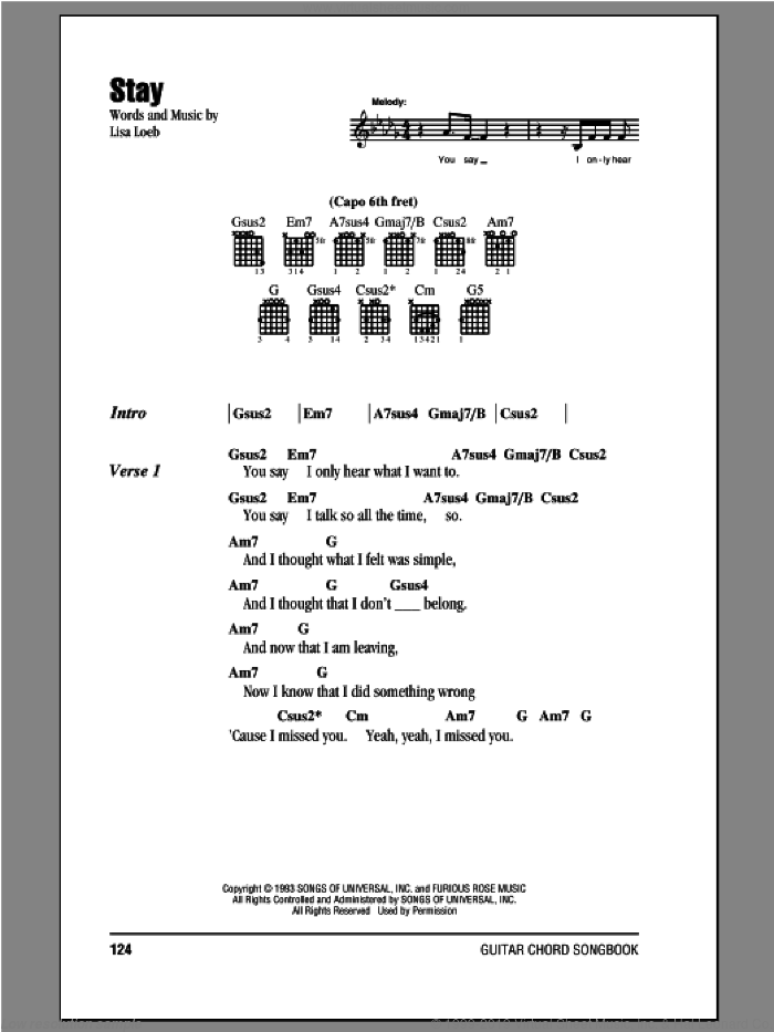 Stay sheet music for guitar (chords) by Lisa Loeb & Nine Stories and Lisa Loeb. Score Image Preview.
