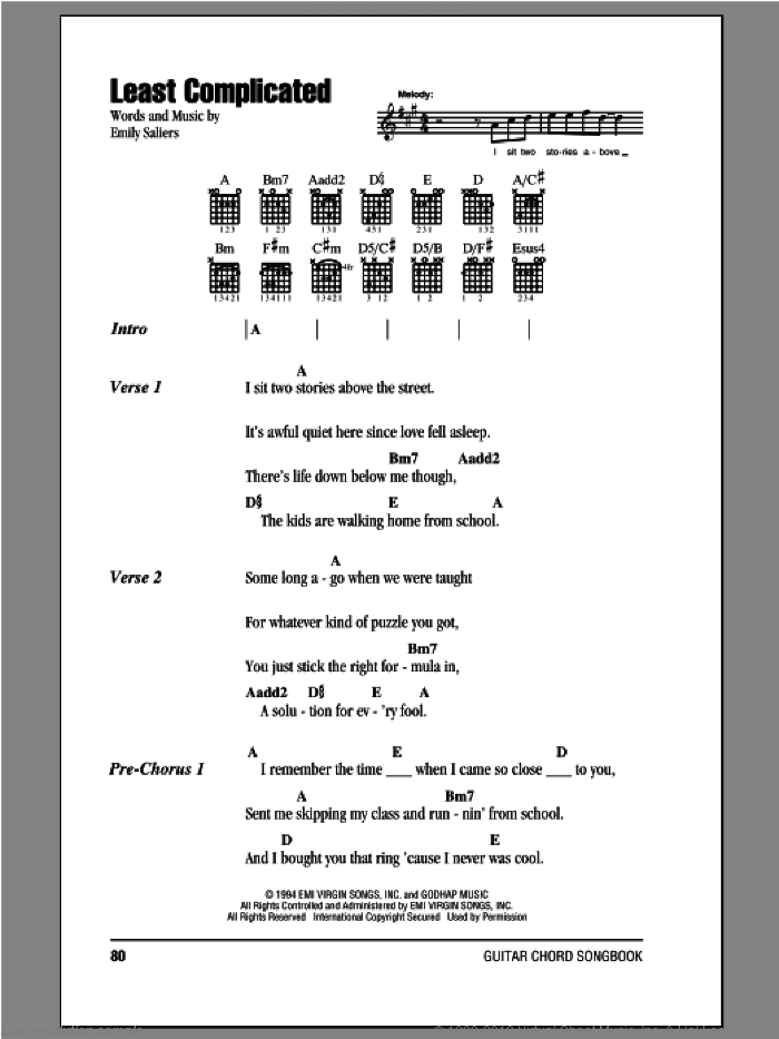 Least Complicated sheet music for guitar (chords, lyrics, melody) by Emily Saliers
