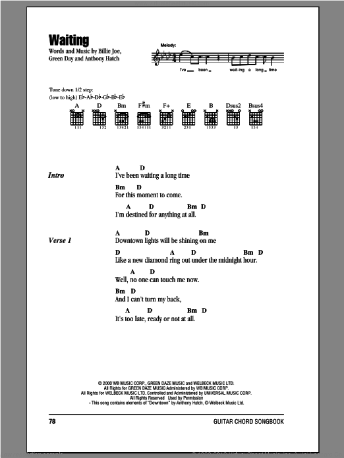 Waiting sheet music for guitar (chords) by Billie Joe, Anthony Hatch and Green Day. Score Image Preview.