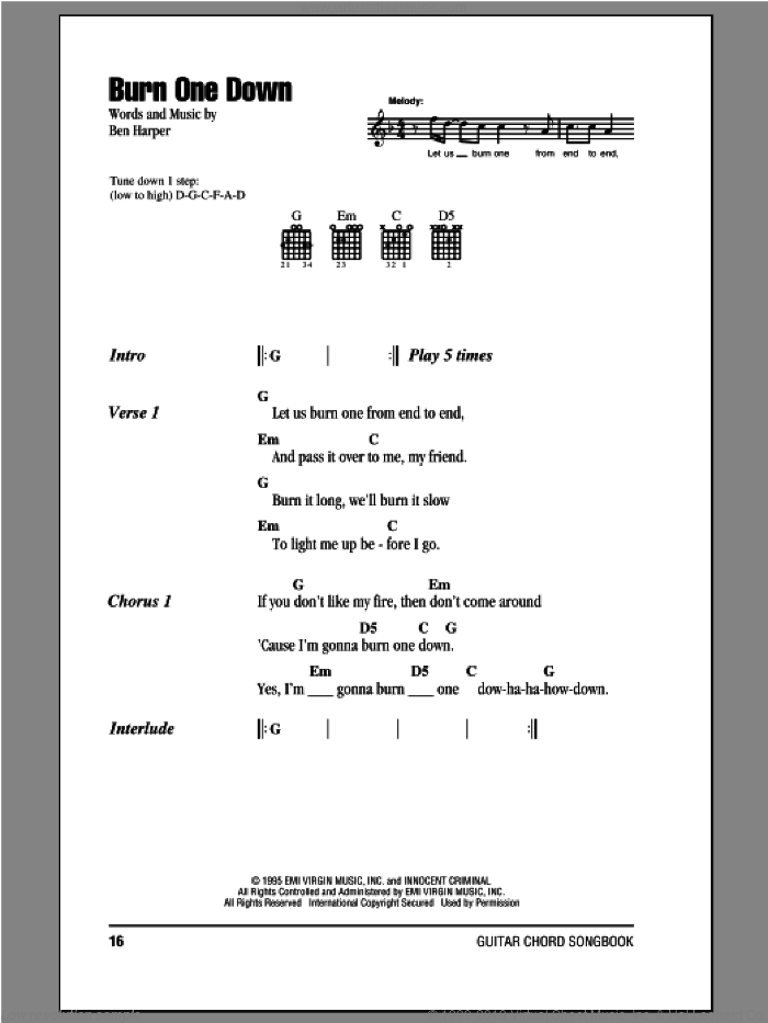 Burn One Down sheet music for guitar (chords, lyrics, melody) by Ben Harper