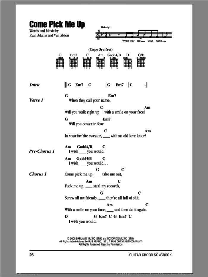 Come Pick Me Up sheet music for guitar (chords) by Ryan Adams and Van Alston, intermediate skill level