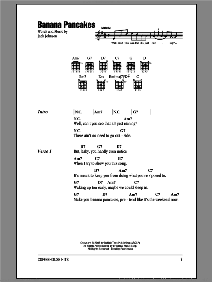 Banana Pancakes sheet music for guitar (chords) by Jack Johnson. Score Image Preview.